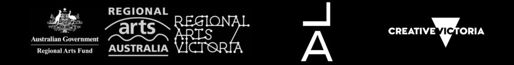 Regional Arts Victoria, Liquid Architecture and Creative Victoria logos